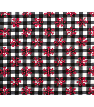 Super Snuggle Flannel Fabric-Red Snowflakes on Buffalo Check