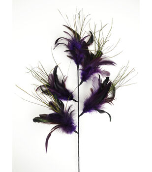 "Bloom Room 32"" Feather Floral Spray x 5-Deep Plum"