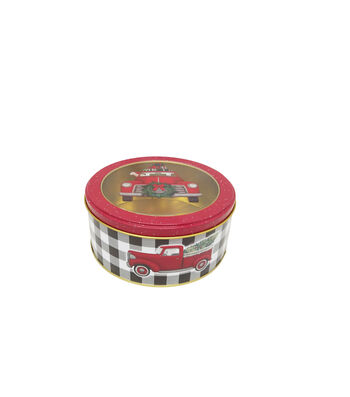 Maker's Holiday Small Round Cookie Container with Clear Top-Truck