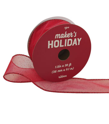 Maker's Holiday Christmas Sheer Ribbon 1.5''x30'-Red Sparkles