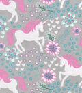 Snuggle Flannel Fabric 42\u0022-Magic Unicorns Gray