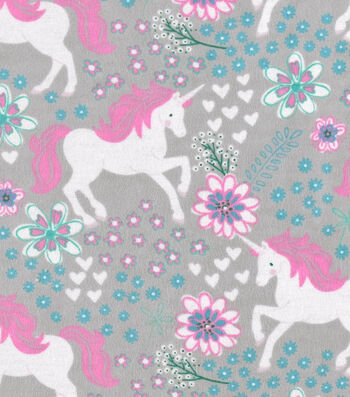 "Snuggle Flannel Fabric 42""-Magic Unicorns Gray"