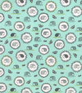 Snuggle Flannel Fabric-Lined Hedgehogs on Aqua