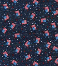 Holiday Inspirations Patriotic Fabric- Mini Flags Blue Glitter