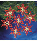 Holiday Beaded Ornament Kit-Poinsettias 3.5\u0022 Makes 6