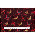 Christmas Cotton Fabric 43\u0022-Cardinals On Berry Twigs