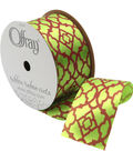 Offray 1.5\u0022 x 9\u0027 Honeysuckle Geo Ribbon-Green/Red