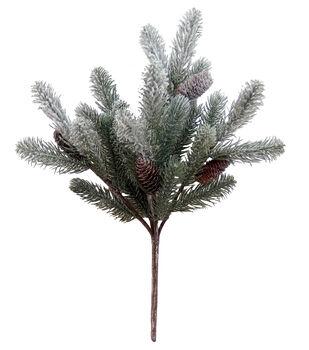 Handmade Holiday Christmas Natural Snowy Pine & Pinecone Bush