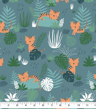 Snuggle Flannel Fabric-Jungle Tigers
