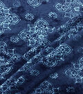 Knit Prints Rayon Spandex Fabric-Navy Teal Diamond Boho