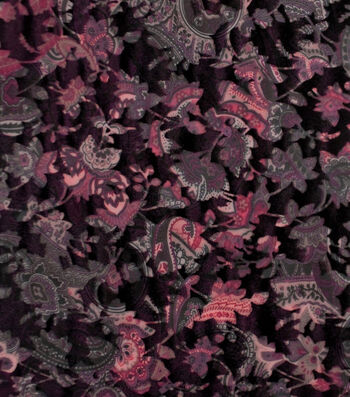 "Silky Velvet Burnout Fabric 58""-Burgundy Dark Blooms"