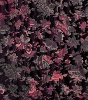 Silky Velvet Burnout Fabric-Dark Blooms on Black