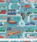 Novelty Cotton Fabric-Roadway Traffic Teal