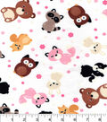 Snuggle Flannel Fabric 42\u0022-Cute Woodland Friends