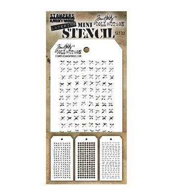 Stampers Anonymous Tim Holtz 3 pk Mini Layering Stencil Set #33
