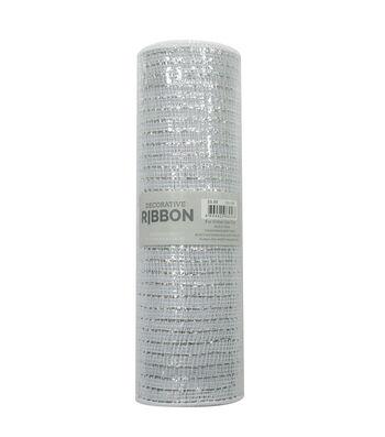 Decorative Ribbon Metallic Deco Mesh 10''x10 yds-White & Silver