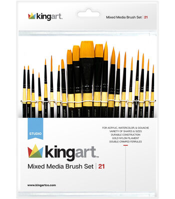 KINGART Paint Brush Set 21/Pkg-Mixed Media