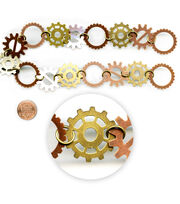 "Blue Moon Beads 14"" Strand, Metal Connectors, Gears, Copper/Ox Brass, , hi-res"
