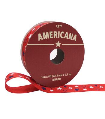 """Americana Ribbon 7/8""""x9'-Tiny Stars on Red"""