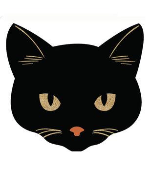 Maker's Halloween Figural Cat Natural Tufted Coir Mat-Black
