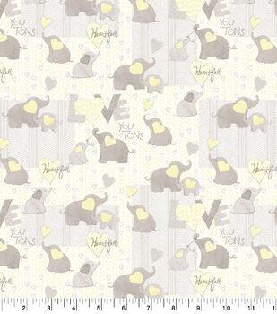 Nursery Cotton Fabric-Love Words Elephant