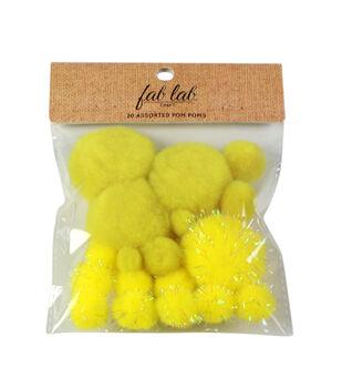 Fab Lab Craft 20 pk Assorted Tinsel Pom Poms-Yellow