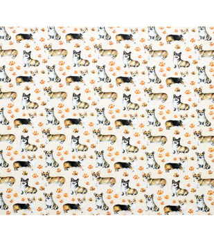 Super Snuggle Flannel Fabric-Cute Corgi Pup