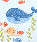 48\u0022 No Sew Fleece Throw- Whale N Friends Panel
