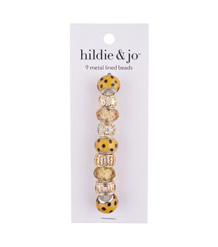 hildie & jo 9 pk Metal Lined Glass Beads-Yellow & Gold