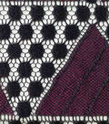 Lace Knit Fabric-Fig & Black Triangles