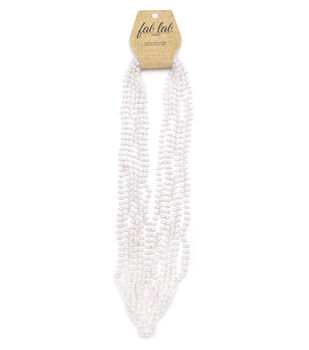 6mm Round Bead Necklace Pearl White 6pc