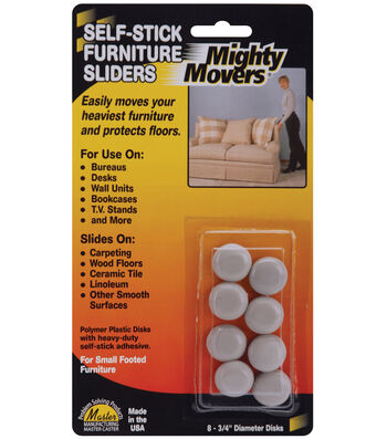 "Mighty Movers Self-Stick Furniture Sliders .7"" Round"