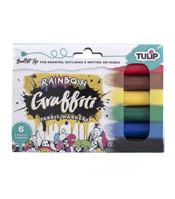 Tulip 6 pk Graffiti Bullet Tip Fabric Markers-Rainbow