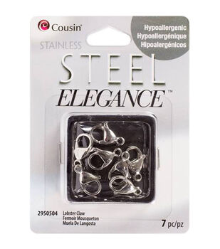 Stainless Steel Elegance Lobster Claw Clasps 7/Pk