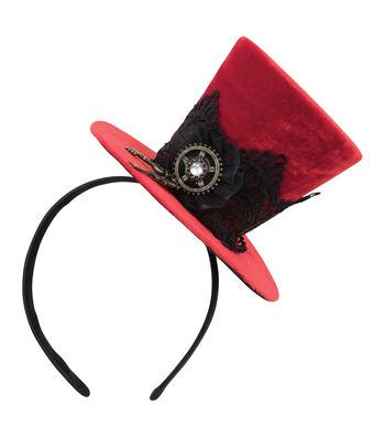 Maker's Halloween Red Velvet Fascinator Top Hat with Key & Black Lace
