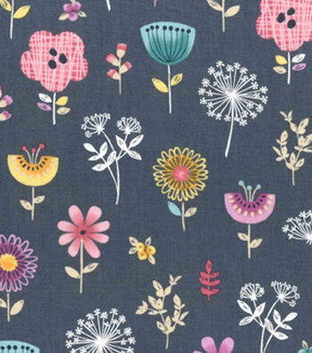 Premium Cotton Fabric 43''-Blue Astrid Garden Tossed