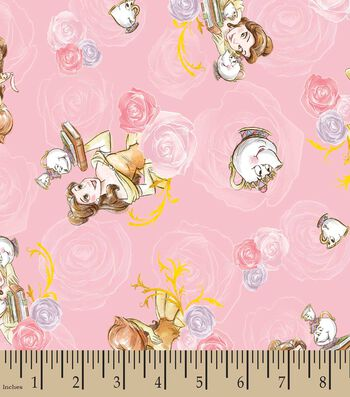 Disney Princess Print Fabric- Belle And Friends Toss