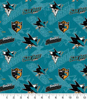 San Jose Sharks Cotton Fabric-Tone On Tone, , hi-res