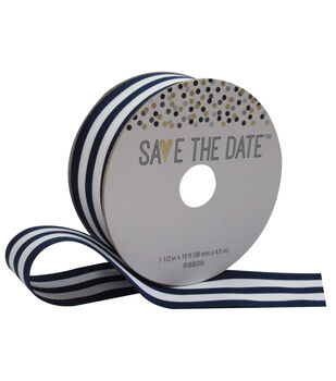 Save the Date 1.5'' X 15' Ribbon-Navy and White Stripe