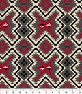 Snuggle Flannel Fabric -Red & Gray Aztec