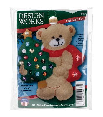 Design Works Christmas 3''x4'' Bear Ornament Felt Craft Kit