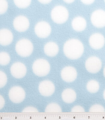 Blizzard Fleece Fabric 59''-White Dots on Light Blue