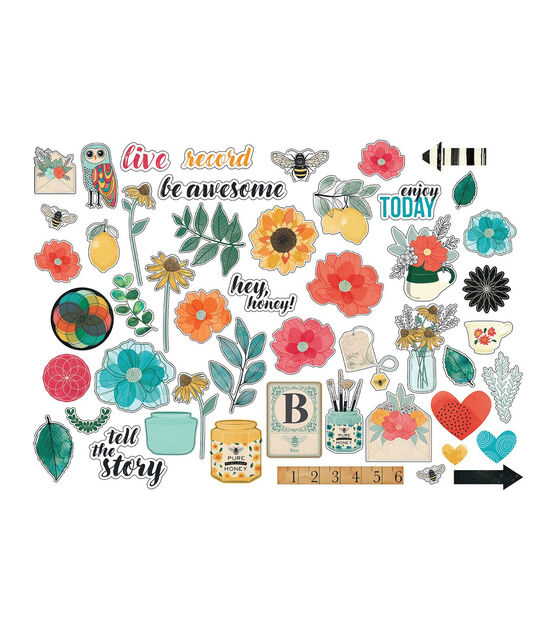 American Crafts 352263 Vicki Boutin Wildflower /& Honey Ephemera Die-Cuts 50//Pkg-Cardstock Frames /& Journaling