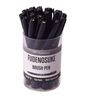 Tombow Fudenosuke 20 pk Fine Tip Brush Pens & Cup-Black