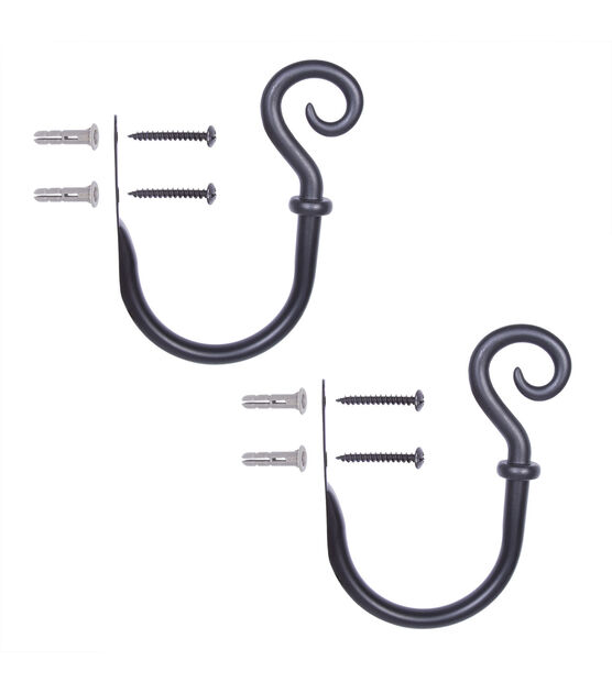 Kenney Medieval Hook Decorative Holdbacks Black, , hi-res, image 2