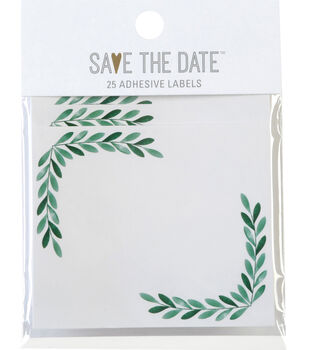 Save the Date 25ct Rectangle Lablels-Greenery