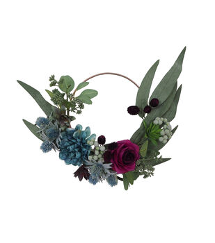 Blooming Autumn Medium Succulent & Leaf Mini Wreath