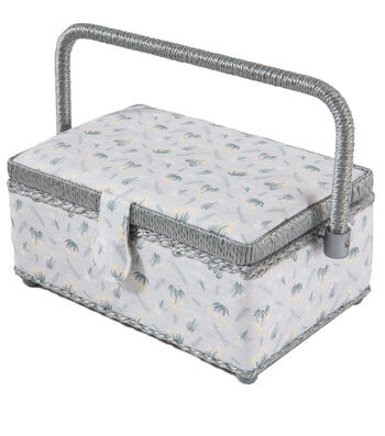 Sewing Basket Small Rectangle-Gray Floral