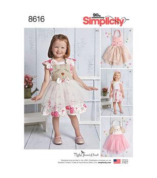 Simplicity Pattern 8616 Toddlers' Dress & Apron Tutu-Size A (1/2-4)