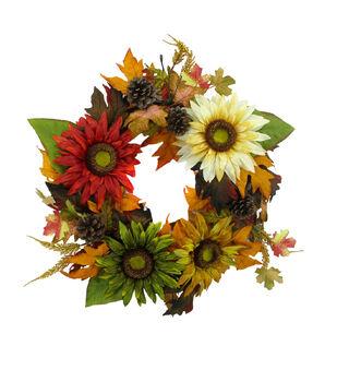 Blooming Autumn Sunflower & Pinecone Wreath-Multi